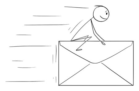 Vector cartoon stick figure drawing conceptual illustration of man or businessman sitting and riding od big fast flying letter, mail or envelope. Communication concept. Stock Illustratie