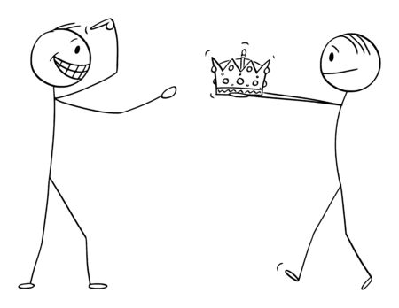 Vector cartoon stick figure drawing conceptual illustration of man giving crown of king or kingdom to confident man during coronation or crowning ceremony.