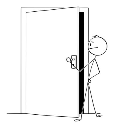 Vector cartoon stick figure drawing conceptual illustration of man or businessman looking through slightly open door to see, what is behind.