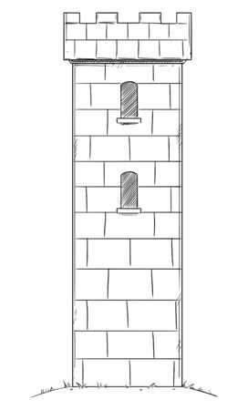 Vector illustration or drawing of medieval or fantasy castle tower.  イラスト・ベクター素材
