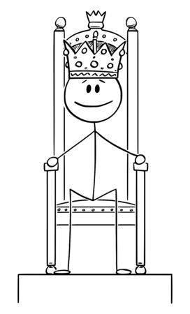 Vector cartoon stick figure drawing conceptual illustration of smiling man or king sitting on royal throne with crown on the head.