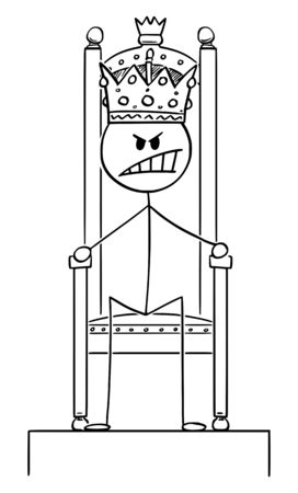 Vector cartoon stick figure drawing conceptual illustration of angry man or king sitting on royal throne with crown on the head.  イラスト・ベクター素材