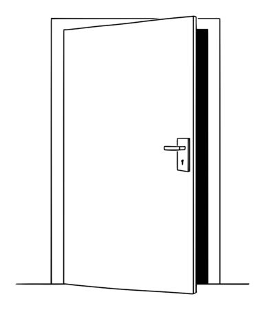 Vector illustration of slightly open door, simple conceptual drawing of business opportunity or challenge.