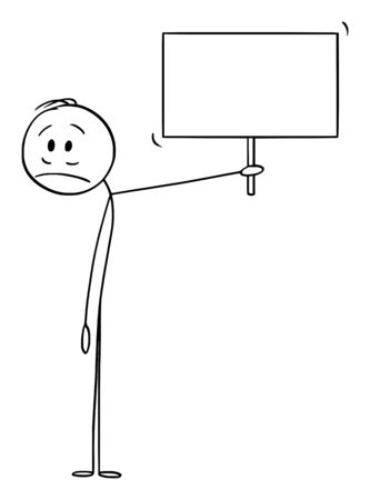 Vector cartoon stick figure drawing conceptual illustration of frustrated or sad man or businessman holding empty sign.