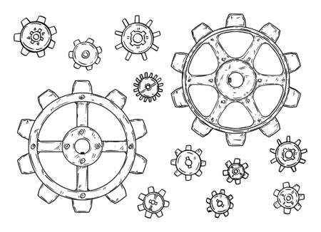 Vector drawing or illustration of set of cogwheels or gearwheels or toothed wheels in black on white background.