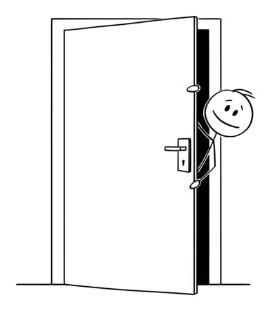 Vector cartoon stick figure drawing conceptual illustration of man or businessman peeping out or looking out the slightly open door.