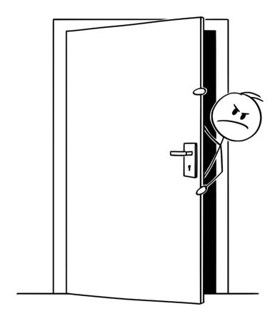 Vector cartoon stick figure drawing conceptual illustration of angry man or businessman peeping out or looking out the slightly open door.