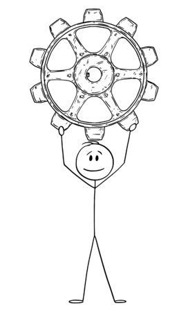 Vector cartoon stick figure drawing conceptual illustration of man or businessman holding big gear wheel,cog or cogwheel.