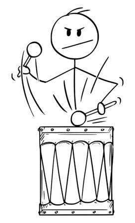 Vector cartoon stick figure drawing conceptual illustration of man,drummer or businessman playing music or rhythm on big retro drum. Illusztráció