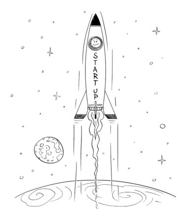 Vector cartoon stick figure drawing conceptual illustration of man in space rocket flying high leaving Earth, business concept of successful startup or start-up.