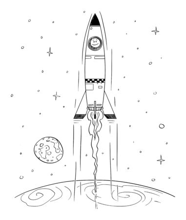 Vector cartoon stick figure drawing conceptual illustration of man in space rocket flying high in space leaving the planet Earth. Technology or business concept.  イラスト・ベクター素材