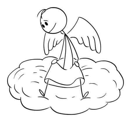 Vector cartoon stick figure drawing conceptual illustration of man sitting on cloud and watching down the world.