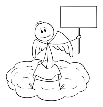 Vector cartoon stick figure drawing conceptual illustration of man sitting on cloud and holding empty sign.