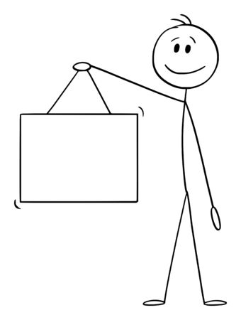 Vector cartoon stick figure drawing conceptual illustration of man or businessman holding empty hanging sign.