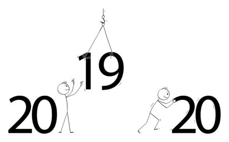 Vector cartoon stick figure drawing conceptual illustration of men or businessmen changing big year 2019 text,letters,sign or numbers in 2020.