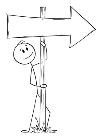 Vector cartoon stick figure drawing conceptual illustration of man or businessman leaning towards old empty wooden directional arrow signpost or sign,
