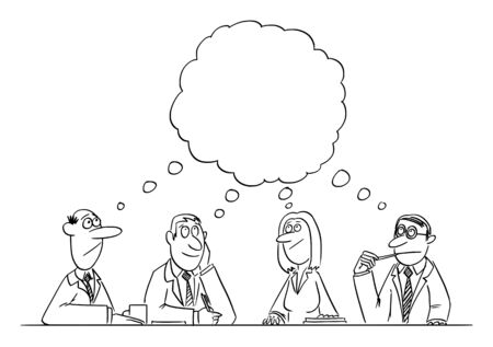 Vector funny comic cartoon drawing of business team meeting and brainstorming. Team is thinking and brainstorming the problem solution.  イラスト・ベクター素材