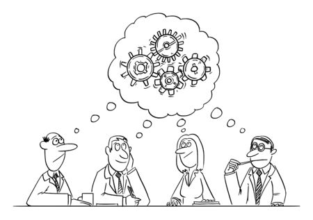 Vector funny comic cartoon drawing of business team meeting and brainstorming. Team is thinking and brainstorming the problem solution. Ilustração
