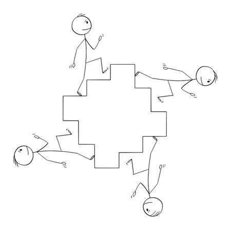 Vector cartoon stick figure drawing conceptual illustration of men or businessmen walking on endless staircase, stairway or stairs in cycle.