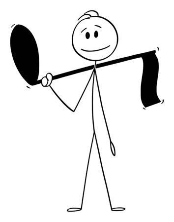 Vector cartoon stick figure drawing conceptual illustration of man holding big musical note.  イラスト・ベクター素材