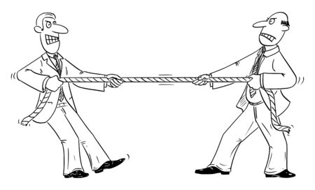 Vector funny comic cartoon drawing of two businessmen or business competitors playing tug of war with rope.