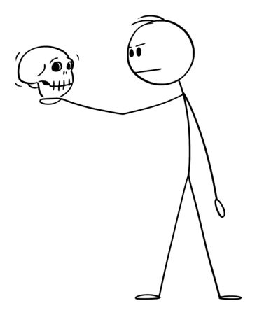 Vector cartoon stick figure drawing conceptual illustration of man in dramatic pose holding human skull. Actor playing Hamlet in William Shakespeare tragedy.