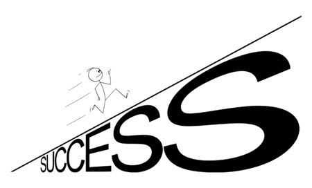 Vector cartoon stick figure drawing conceptual illustration of man or businessman running up the success hill. Career or business concept.  イラスト・ベクター素材