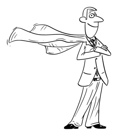 Vector funny comic cartoon drawing of confident businessman superhero posing with flying cape. Illustration