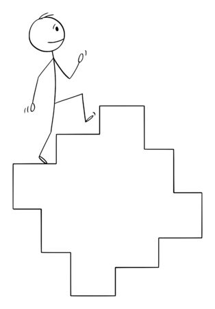 Vector cartoon stick figure drawing conceptual illustration of man or businessman walking on endless staircase, stairway or stairs in cycle.