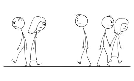 Vector cartoon stick figure drawing conceptual illustration of sad or depressed people walking on the street.