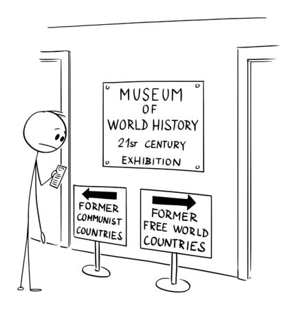 Vector cartoon stick figure drawing conceptual illustration of man in museum looking at ambiguous text on sign indicating the loss of freedom and liberty in western countries, also known as free world  イラスト・ベクター素材