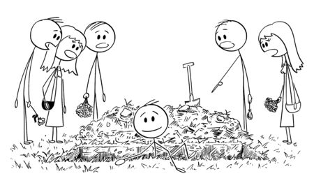 Vector cartoon stick figure drawing conceptual illustration of buried alive man coming out of the grave while people, friends or family members are watching him shocked. Ilustracje wektorowe