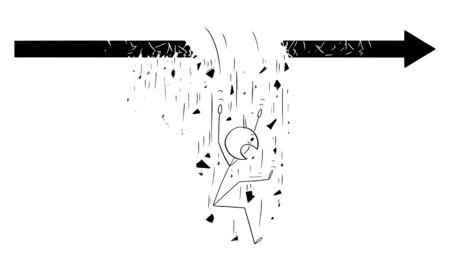 Vector cartoon stick figure drawing conceptual illustration of man or businessman walking on arrow forward to success. He is falling down due the crisis or failure.  イラスト・ベクター素材
