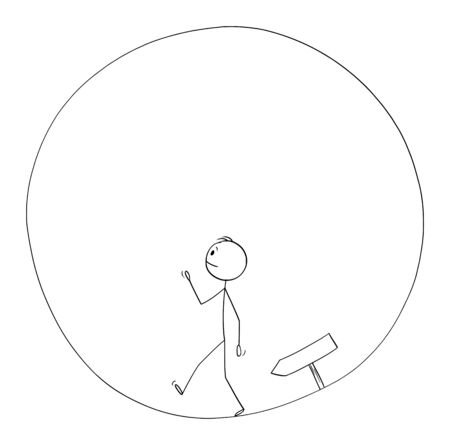 Vector cartoon stick figure drawing conceptual illustration of man or businessman walking in circle. Business concept of career, success and challenge.