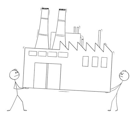 Vector cartoon stick figure drawing conceptual illustration of two men or businessmen carrying the factory, business concept of relocating or moving of manufacturing sector to low-cost country.