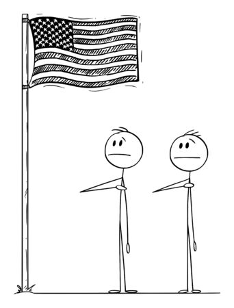 Vector cartoon stick figure drawing conceptual illustration of two men or businessmen or politicians saluting the us or American flag with right hand on heart.