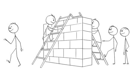 Vector cartoon stick figure drawing conceptual illustration of group of men,businessmen or illegal immigrants overcoming or climbing over the wall or obstacle on border or on the path to success.