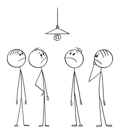 Vector cartoon stick figure drawing conceptual illustration of group of men or businessmen solving complex problem how to change malfunction light bulb.