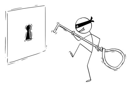 Vector cartoon stick figure drawing conceptual illustration of man in mask or criminal or thief sneaking to big keyhole with picklock, going to open the lock or and steal the money or information.
