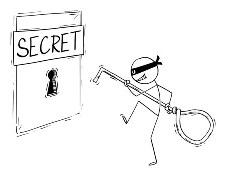 Vector cartoon stick figure drawing conceptual illustration of man in mask,criminal,thief or hacker sneaking to big keyhole with picklock, going to open the lock or and steal the secret information.