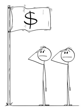 Vector cartoon stick figure drawing conceptual illustration of two men or businessmen or politicians saluting the dollar flag. Money rules the world concept.  イラスト・ベクター素材
