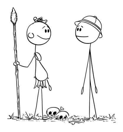 Vector cartoon stick figure drawing conceptual illustration of native cannibal man talking with European or Western Traveler or Tourist. Vectores