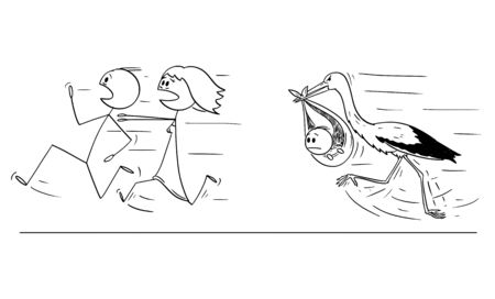 Vector cartoon stick figure drawing conceptual illustration of couple of man and woman running away from stork carrying baby. Concept of postponing or rejecting parenthood. Illustration