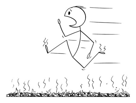 Vector cartoon stick figure drawing conceptual illustration of firewalk, man or businessman running fast in panic or firewalking barefoot over bed of hot embers or stones.