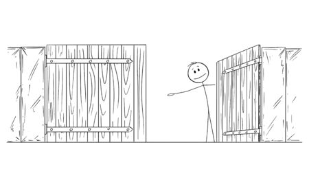 Vector cartoon stick figure drawing conceptual illustration of man or businessman standing behind open gate inviting to go inside or enter.