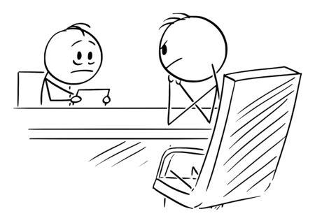 Vektor-Cartoon-Strichmännchen zeichnen konzeptionelle Darstellung des Mannes auf Vorstellungsgespräch oder Mitarbeiter gegenüber seinem Chef oder Mitarbeiter.