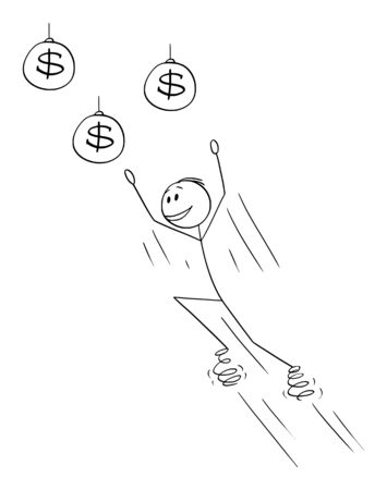 Vector cartoon stick figure drawing conceptual illustration of man or businessman jumping on springs for money or wealth or dollar coins.