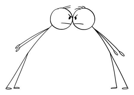 Vektor-Cartoon-Strichmännchen zeichnen konzeptionelle Darstellung der Konfrontation von zwei wütenden Männern oder Geschäftsleuten, die sich von Angesicht zu Angesicht gegenüberstehen.