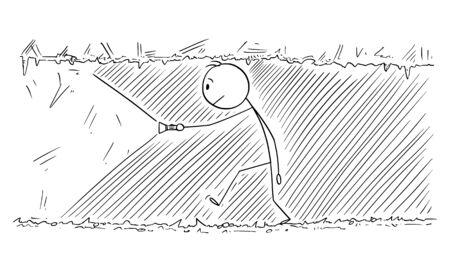 Vector de dibujos animados figura de palo dibujo ilustración conceptual del hombre caminando a través del túnel oscuro, cueva o mina. Ilustración de vector