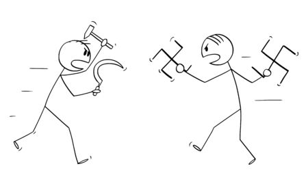 Vector cartoon stick figure drawing conceptual illustration of battle or fight between Nazi and communist ideology or Nazism and communism. Two men with sickle and hammer and swastika as weapons.